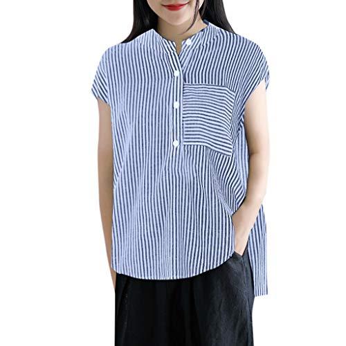 Watopi Frauen beiläufige blusen Streifen Druck Hemd Knopf Taschen ärmellose Bluse lose Oberseiten