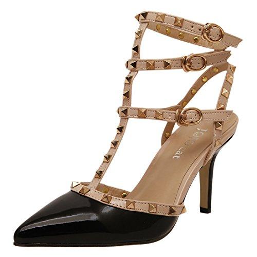 YE Damen Lackleder T-Spangen Stiletto High Heel Spitz Zehen Slingback Sandalen mit Nieten und Schnalle Elegant Pumps Schuhe