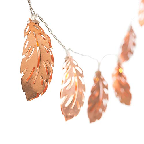 XCXDX String Light Rose Gold Eisen Kunst Feder Blatt Fee Licht Batteriebetriebene LED-Dekor Für Zimmer, Hochzeit, Party, Zuhause