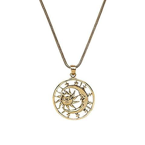 81stgeneration Women's Brass Gold Tone Crescent Moon Sun Stars Galaxy Round Pendant Necklace, 46 cm