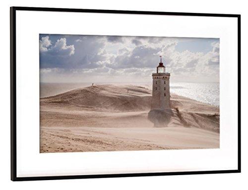 Wüste Umrahmt (artboxONE Poster mit Rahmen Schwarz (Metallic) 45x30 cm