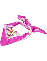 sourcingmap® Fuchsia Pink Flower Pattern Square Shaped Scarf Neckerchief for Women