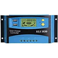 Akozon Panel Solar Controlador de Carga PWM Dual USB Panel Solar Regulador del Controlador Pantalla LCD 12V 24V 30A(Azul)