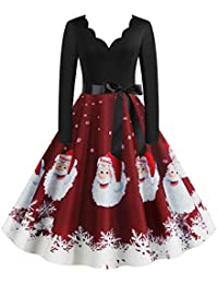 FAMILIZO Vestidos Navidad Mujer De La Navidad De Manga Larga O Cuello De Impresión Vintage Vestido De Fiesta De La Noche Vestidos de Fiesta Christmas Dress Women