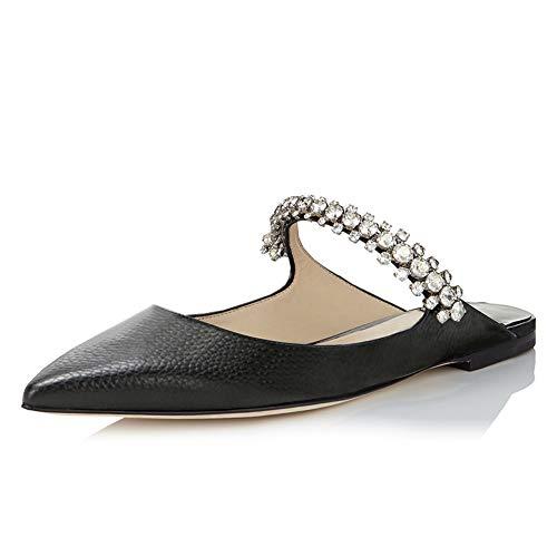 Jeweled Damen Jeans (Lutalica Damen Sexy Single Strap Freizeit Komfort Kristalle Flache Sandale Schuhe Linien Schwarz Größe 37)
