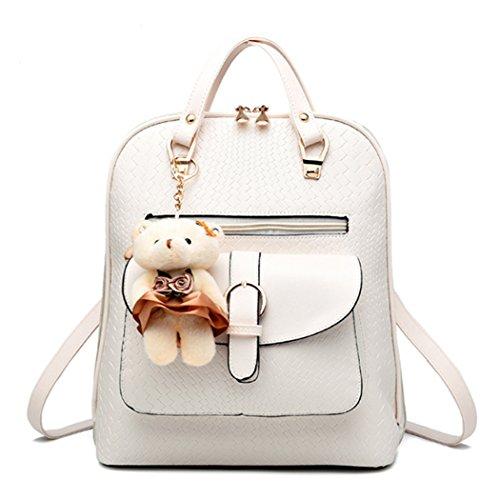 Il sacchetto di spalla dello zaino della scuola dello scamosciato della scuola del cuoio del Faux della ragazza delle donne di modo sceglie il grano e lorso bello bianca