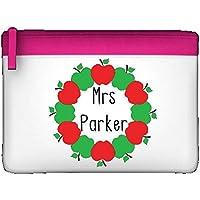 Rosso e Verde mela–Cerchio personalizzato insegnante apprezzamento regalo astuccio con cerniera colorata Misura unica rosa