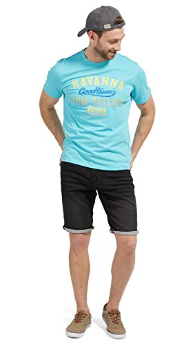 TOM TAILOR Herren T-Shirt with Chest Print Tuscan Blue