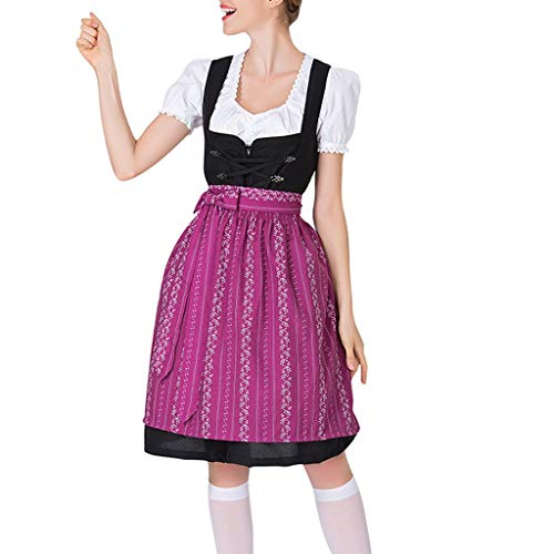 Deloito Damen Trachtenkleid Mode Bavarian Beer Festival Kleid Oktoberfest Dienstmädchen Cosplay Bluse Kostüme Bar Club Slim Barmaid Kleid Rock (Lila,XX-Large) (Minion Lila Halloween-kostüme)
