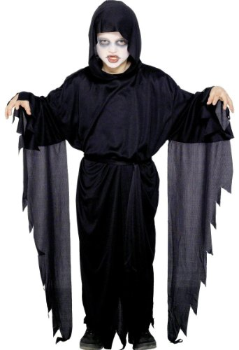 Smiffys Kinder Screamer Geist Kostüm, Robe mit Kapuze und Gürtel, Größe: M, - Black Robe Kostüm Großbritannien