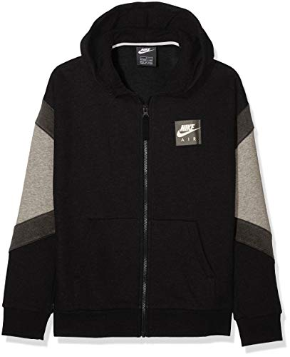 Nk Air (Nike Jungen B Nk Air Hoodie Fz Sportkapuzenpullover, Schwarz Carbon Heather/Anthracite/Black 010, 140 (Herstellergröße: Medium))
