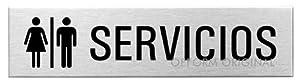 """servicio puerta a puerta: Ofform Placa de puerta l Señal acero inoxidable con texto l pictograma """"Servicio..."""