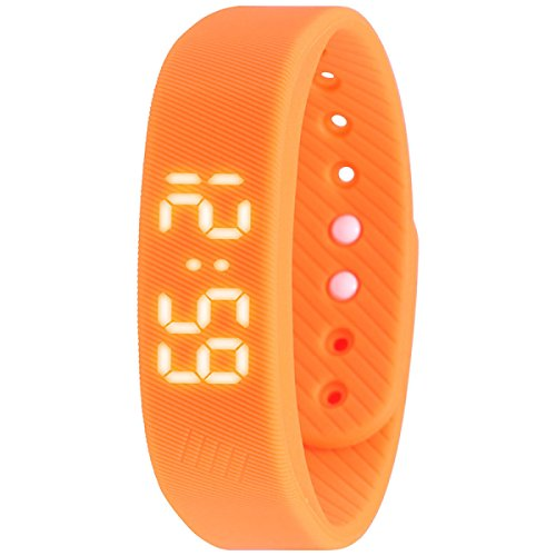 Smart Armband Schrittzähler Armband Fitness Tracker Smart Uhr Mit Schritt Kalorien Zähler Abstand Zeit / Datum Für Walking Laufen Kinder Männer Frauen,Orange (Herren-uhren Mit Gesicht Orange)