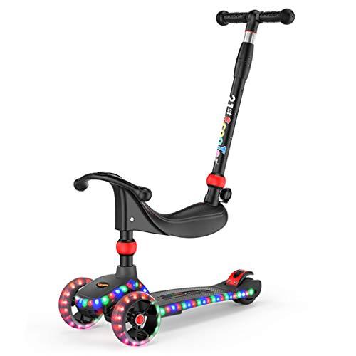 GXY Kinder Roller 3~12 Jahre alt Kindersitz Kind vierrädrigen Fahrrad Kind Kleinkind Trolley Junge Mädchen Roller zu treten Kann sitzen und Kinder Fahrrad schieben