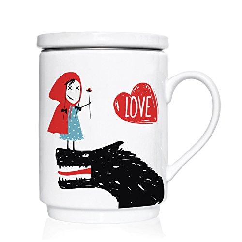 We Love Home - Tasse à thé en porcelaine avec infuseur en acier inoxydable + couvercle 25 cl. style scandinave design Little Red Love