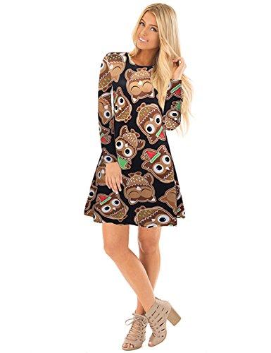 ihnachten Kleid braun Eule gedruckt Pullover Tops L schwarz (Hässliche Pullover Kleid)