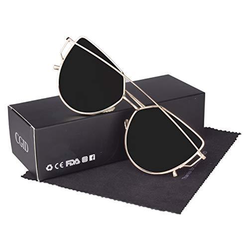 CGID Mode Polarisierte Katzenaugen Sonnenbrille For Damen UV400 reflektierenden Spiegel,Gold Schwarz