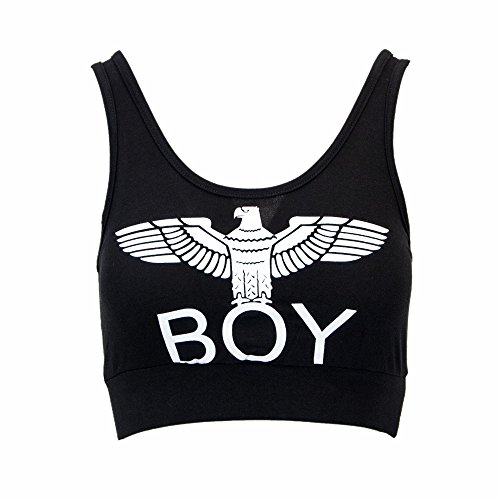 Boy London Donna Top Corto BIELASTICO con Stampa BL1017 nero