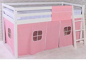 White Shorty Cabin Bed Pink Girls Mid Sleeper Junior