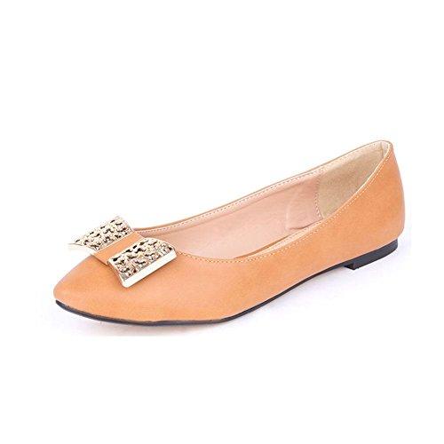 Damen Spitzen Zehe Leder innere flache Schuhe mit Metall Bogen diamante Kamel