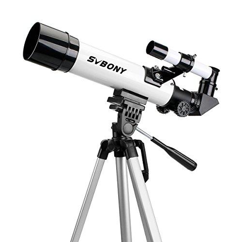 Svbony Refraktor Teleskop SV25 420/60 Fernrohr Teleskop für Kinder, Einsteiger und Amateur-Astronomen mit Handy-teleskop-Adapter (weiß)