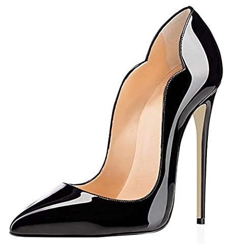 Femmes Dames pointu Toe Cuir verni Slalow Stiletto High Heel Chaussures Ankle Sexy Pump Chaussures Black Red Party Carrière Wedding Evening Prom Dressy , 1 , EUR 39/ UK 5