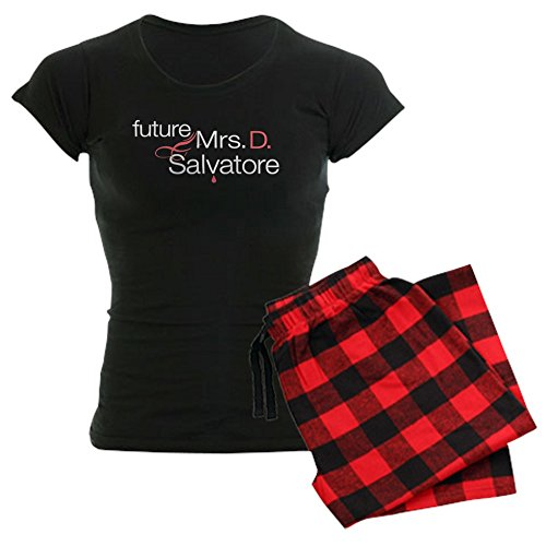 CafePress Frau Damon Salvatore Damen Dark Schlafanzüge – Damen Neuheit Baumwolle Pyjama Set, bequemen PJ Nachtwäsche Gr. Small, With Red Plaid Pant (Schlaf Tee Print)