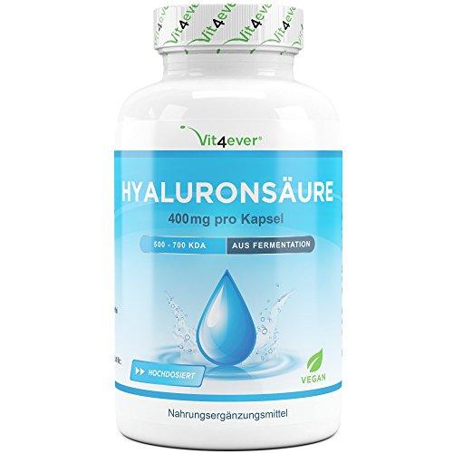 Hyaluronsäure 400 mg - 120 Kapseln - Molekülgröße 500-700 kDa - Laborgeprüft - Hyaluron aus Fermentation - Vegan - Hylaronsäure - Gelenke, Haut & Anti-Aging - Vit4ever