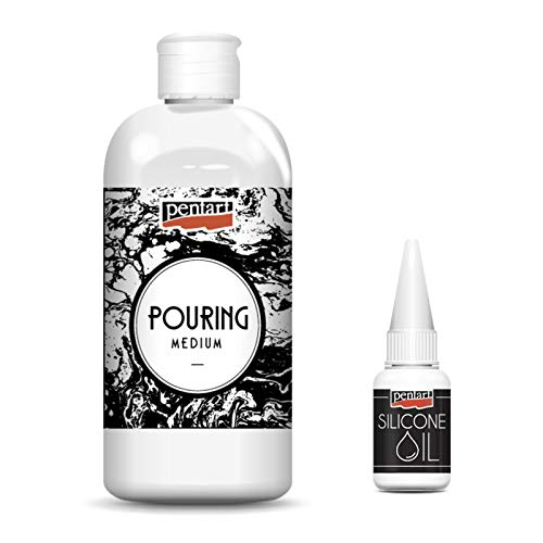 Zita`s Creative Pouring Medium - Gießmedium 500ml + Silikon Öl 20ml, Gieß-Farbe, Acrylic Pouring, Gießtechnik (Holz Gel Medium)