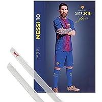 1art1® Póster + Soporte: Fútbol Póster (91x61 cm) FC Barcelona, Lionel Messi, Pose 2017/2018 Y 1 Lote De 2 Varillas Transparentes