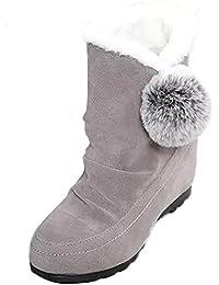 Minetom Mujer Invierno Botas De Nieve Talón Plano Altura Creciente Algodón Botas Lindo Pom Poms Zapatos Botas