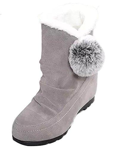 Minetom Donna Inverno Stivali Da Neve Piatta Altezza Crescente Cotone Boots Carino Pom Poms Scarpe Stivali Grigio EU 38