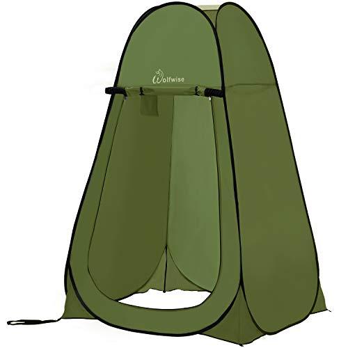 WolfWise Duschzelt Toilettenzelt, Camping Umkleidezelt Outdoor Privatsphäre Zelte, Lagerzelt Kabine mit Ablagefach, Pop up, Wasserfest, Tragbar (Grün ohne Zeltboden)