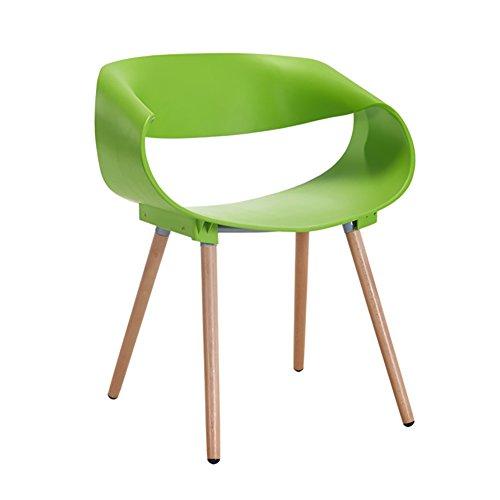 Mena Uk ABS Kunststoff Holz Retro Esszimmer Stühle Sessel für Office Lounge Esszimmer Küche (Farbe : Grün, größe : H75cm)