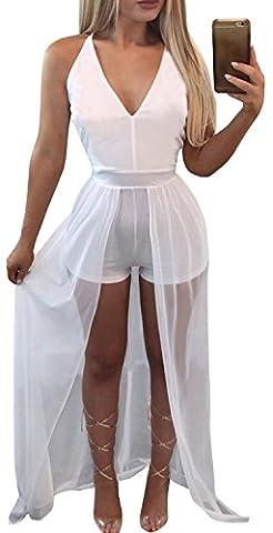 FANCYINN Femmes Sexy Deep V-neck Short Pants Jumpsuit Rompers Maxi Long Dress Clubwear White S