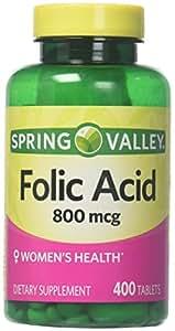 Spring Valley - Folic Acid 800 mcg, 400 Tablets