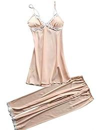 TIFIY Sexy Conjuntos Vestido Pantalones Mujer Erótico Lace Talla Grande Lenceria Babydoll Interior Ropa de Dormir Floral de Encaje Cuello en V Camisión Pijama