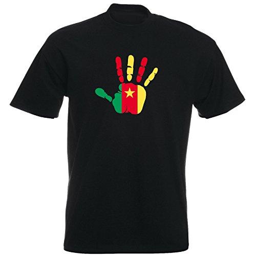 T-Shirt - Kamerun - Hand - Handabdruck - Fahne - Herren - unisex - schwarz S
