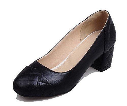 Senhoras Allhqfashion Couro Pu Puro Salto Médio Arrastar Do Dedo Do Pé Quadrado Em Bombas Sapatos Pretos