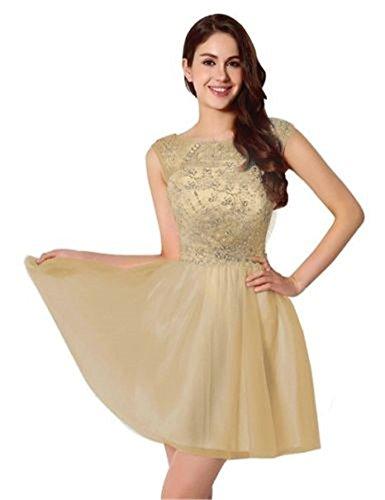 Drasawee Damen A-Linie Kleid champagnerfarben