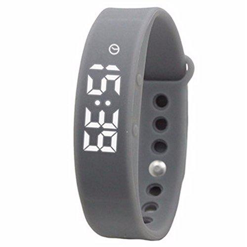 W5 intelligentes Armband-neuer Sport-Digital-LED-Anzeigen-Wristband-Kalorien-Schrittzähler-Thermometer-Eignung-Verfolger USB-Gelee-Farbe wasserdicht , grey
