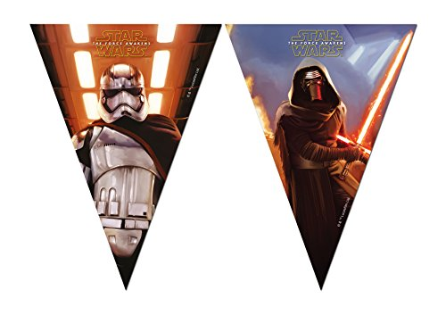 1 Wimpelkette * STAR WARS VII * für Kindergeburtstag und Motto-Party // Set Plastic Flag Banner Kinder Geburtstag Motto The Force Awakens Lucasfilm Darth Vader Yoda Krieg der Sterne Disney Episode Kylo Ren