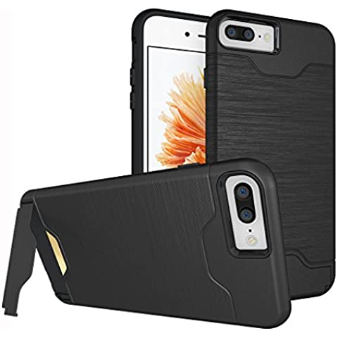 Custodia iphone 7 Plus Cover , ivencase Nero Durevole [Shockproof] [Extra Grip] Ibrido Case con [Card Slot & Holder] Stand Protettiva Case Perfetta per iPhone 7 Plus 5.5