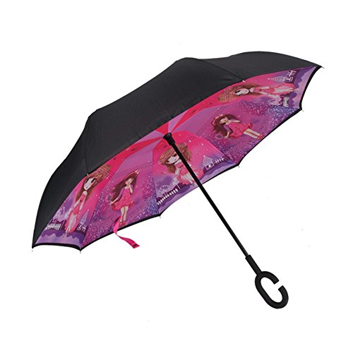 Paraguas invertido doble capa adentro hacia afuera