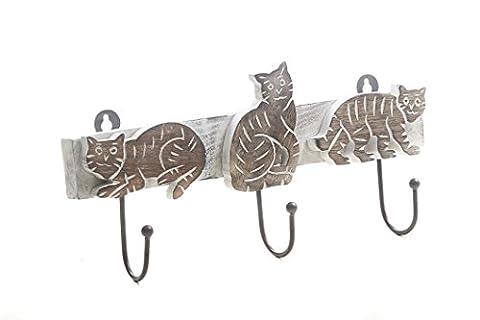 Handmade Métal 3 Pegs Cat en bois en forme de mur Gendarmerie Key Holder Vêtements Hook Accessoires décoratifs Home Décor Accents cadeau