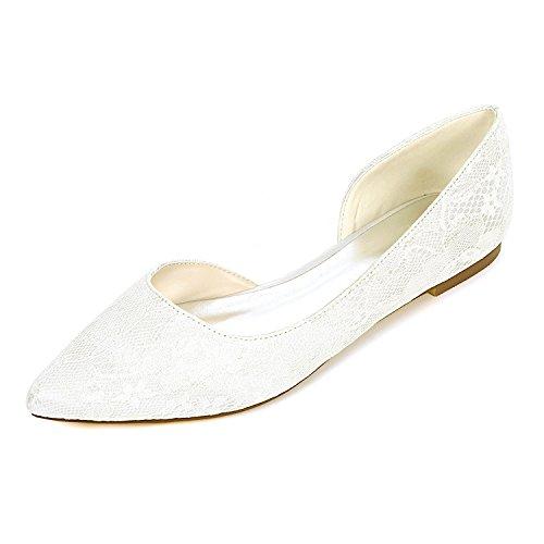2046-08LS Damen Brautschuhe Lace Satin Damen Flache Ballett Brautjungfer Satin Slip On Hochzeit Brautkleid Schuhe,Ivory,UK3/EU36