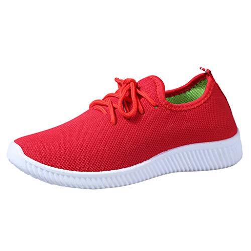 MRULIC Damen Basic Round Toe Breathable Loafers Weiche Freizeit Laufschuhe Bequeme Einfarbige Flache Schuhe zum Schnüren(Rot,38 EU) -