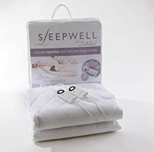 Dreamland Sleepwell 6987 King Size Dual Control Heated Pure Cotton Quilted Fully Fitted Mattress Cover