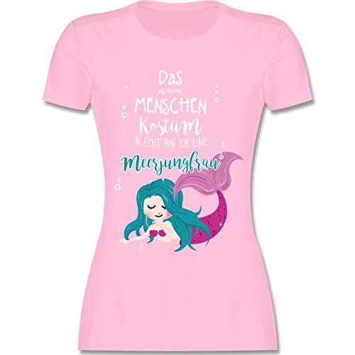 - Das ist Mein Menschen Kostüm in echt Bin ich eine Meerjungfrau - L - Rosa - L191 - Damen Tshirt und Frauen T-Shirt ()