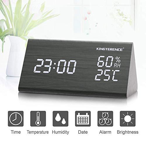 Digital Wecker mit Hölzerner Elektronischer LED-Zeitanzeige, Doppelte Temperatur- und Feuchtigkeitserkennung, Ideal für Schlafzimmer, Nacht Kinder -